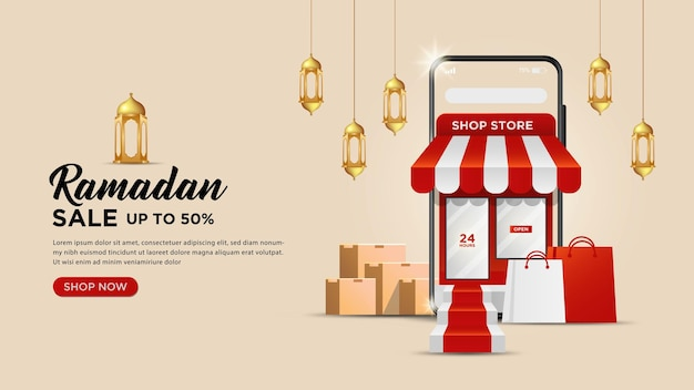 Рамадан карим продажа баннеров шаблон или концепции веб-сайтов