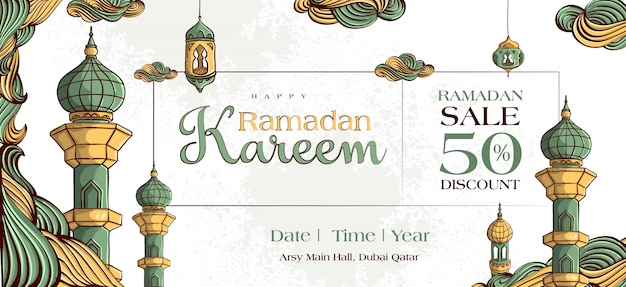 Ramadan kareem sale banner with hand drawn islamic illustration ornament on white grunge background.
