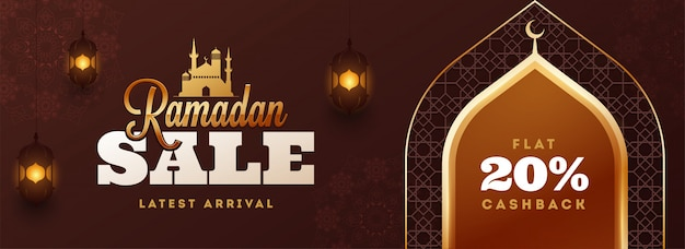 Ramadan kareem sale header or banner design with 20% discount