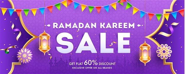 Ramadan kareem sale header or banner template design with 60% discount
