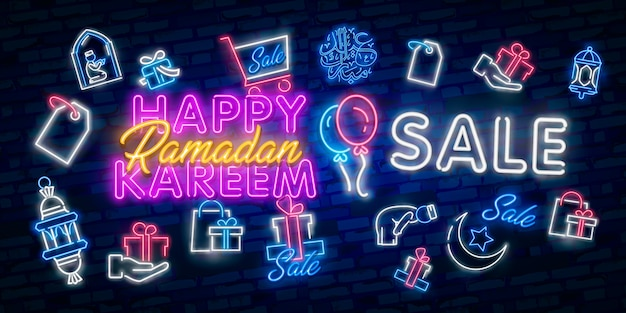 Ramadan kareem sale offer neon banners collection