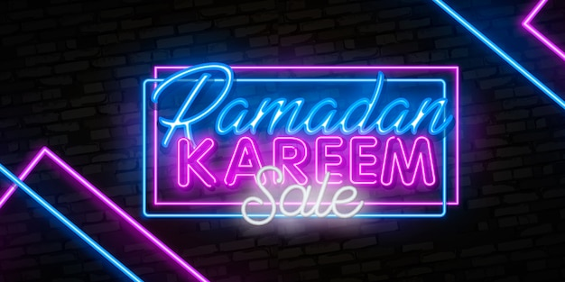 Ramadan kareem sale offer neon banners collection.