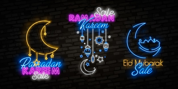 Ramadan kareem sale offer neon collection. ramadan holiday discounts vector illustration design template in modern trend style, neon style,