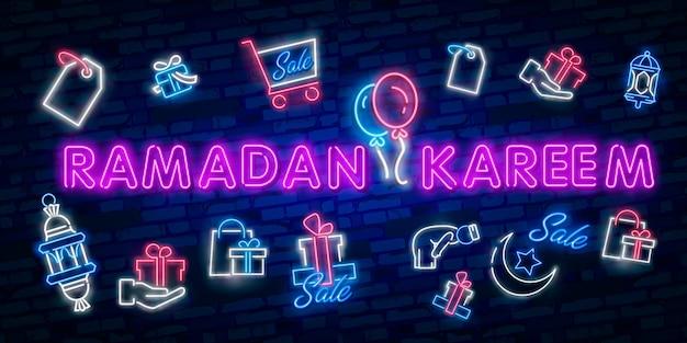 Ramadan kareem sale offer neon elements collection