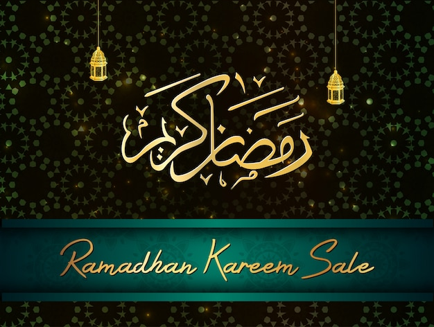 Ramadan kareem sale with arabic calligraphy and lantern