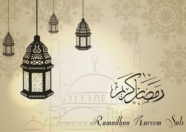 Ramadan kareem sale with crescent moon and lantern