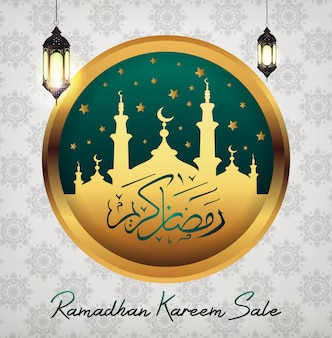 Ramadan kareem sale with mosque