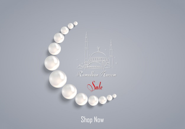 Ramadan kareem sale with pearl prayer bead