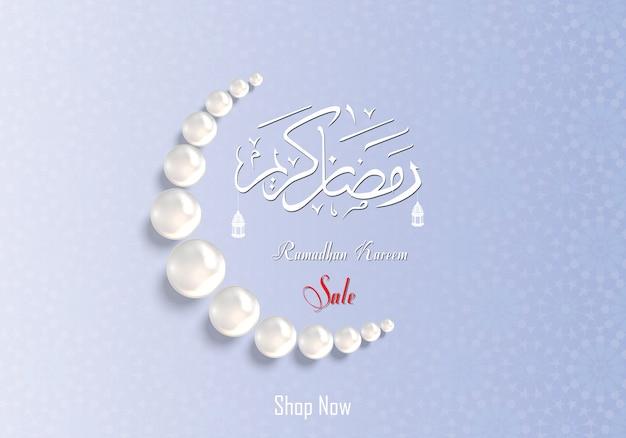 Ramadan kareem sale with pearl prayer bead