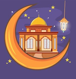 Рамадан карим. сцена с мечетью