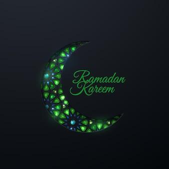 ラマダンカリームのサインと紙は、伝統的なアラビアのパターンと宝石で三日月をカットしました