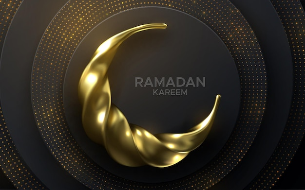 Ramadan kareem sign and golden crescent moon on black layered paper background with glitters