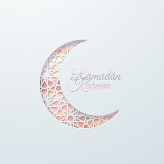 Ramadan kareem sign and paper cut crescent moon with tradition arabic pattern