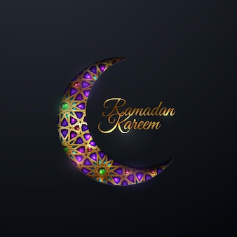 Ramadan kareem sign and paper cut crescent moon with tradition golden arabic pattern and gems