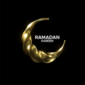 Ramadan kareem sign with golden crescent moon
