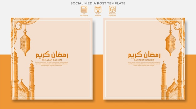 Ramadan kareem social media post design with hand drawn illustration of islamic ornament