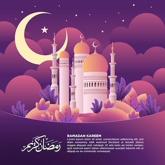 Ramadan kareem square post with mosque illustration