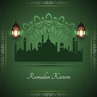 Ramadan kareem stylish greeting card with mosque