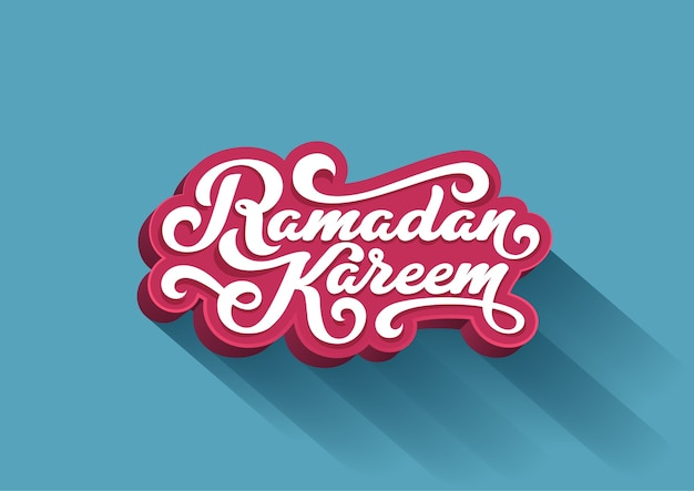 Ramadan kareem text 3d  lettering greeting card design template.