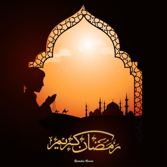 Ramadan kareem text in arabic language and silhouette of muslim boy
