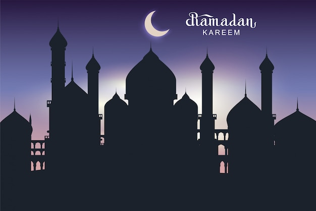 Ramadan kareem text greeting card. night architecture of eastern city silhouette mosque