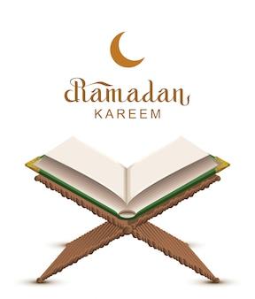 Ramadan kareem text and open book koran