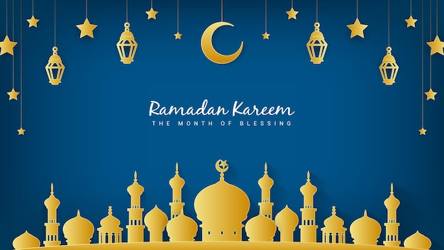 Рамадан карим месяц благословения фон иллюстрация.