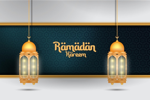 Ramadan kareem and traditional lantern for islamic greeting background