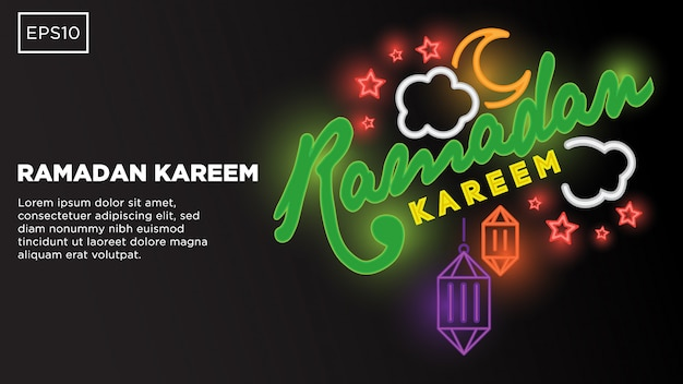 Ramadan kareem typography vector background with islamic illustration image and text template