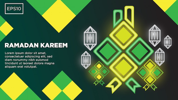Ramadan kareem vector background with islamic illustration image and text template