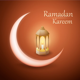 Ramadan kareem vector design with lantern and crescent moon