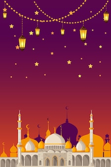 Рамадан карим векторный макет поздравительной открытки с мечетью, минаретами, арабскими сияющими лампами и декоративным декором. исламский фон хорош для рассказов.
