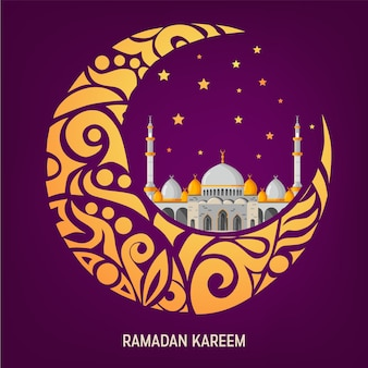 Ramadan kareem vector greeting card layout with mosque, minarets, arabic shining lamps, and ornamental decor.