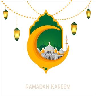 Ramadan kareem vector greeting card layout with mosque, minarets, arabic shining lamps, and ornamental decor.