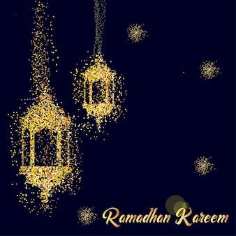 Ramadan kareem vector illustration with latern confetti
