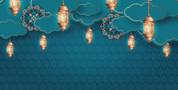 ラマダンカリーム壁紙デザインテンプレート。
