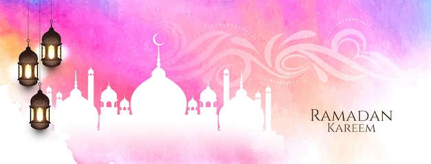 Ramadan kareem  watercolor banner with mosque