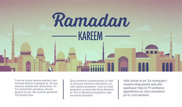 Ramadan kareem web banner with mosque