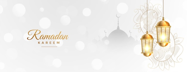 Ramadan kareem white banner with golden islamic lantern