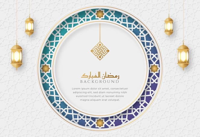 Ramadan kareem white and blue luxury islamic greeting card with decorative ornament frame and lanterns