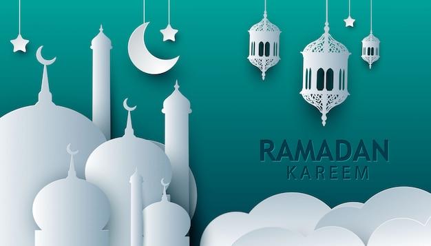 Ramadan kareem white paper art style design
