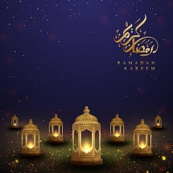 Ramadan kareem with arabic calligraphy and golden lanterns.
