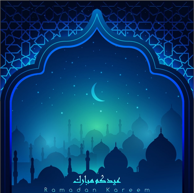 Ramadan kareem with arabic calligraphy & mosques at night accompanied by sparkles of stars & moon