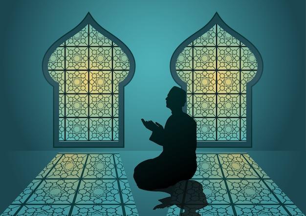 アラビアの伝統的な窓とイスラムの挨拶のためのモザイクのイスラムの装飾的な詳細を備えたラマダンカリーム。