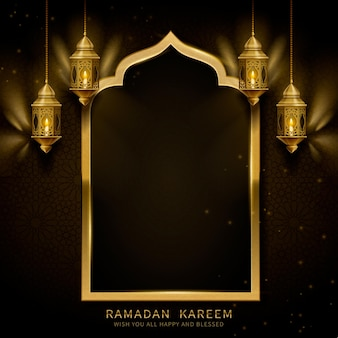 Ramadan kareem with arch and fanoos