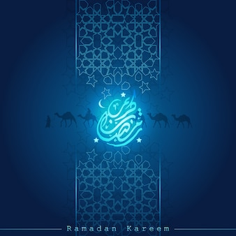 Ramadan kareem with beautiful greeting line, arabic calligraphy and arabian traveller on camel for background
