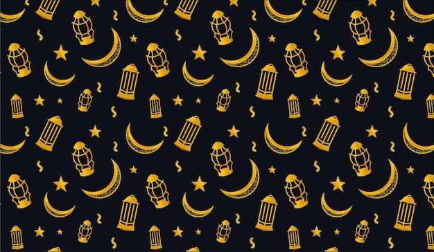 Ramadan kareem with crescent moon lanterns star gold shing pattern