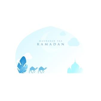 Ramadan kareem with desert in light blue color