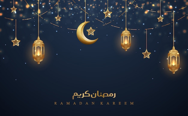 Ramadan kareem with golden lanterns, and golden crescent moon
