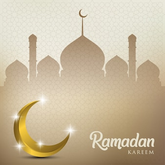 Ramadan kareem with golden moon and mosque dome